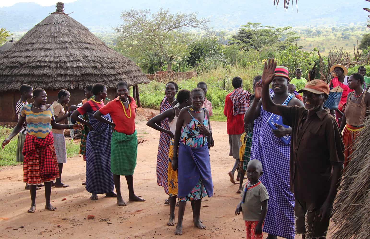 Karamojong village outside Kipedo Park. The man in the red-striped hat is the village chief.
